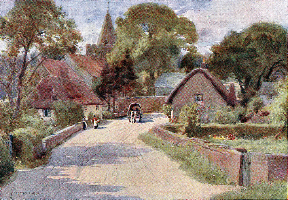 shalfleet village a watercolour by heaton